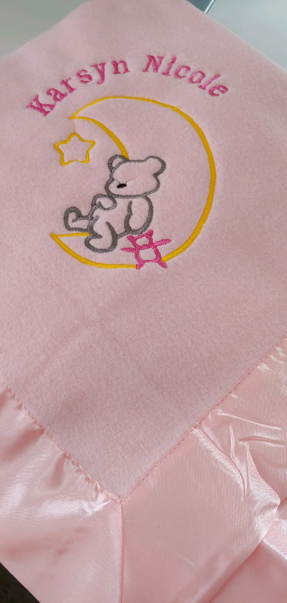 Embroidered Pink Baby Blanket