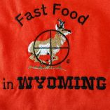 "Custom embroidered antelope hunting design, ""Fast Food in Wyoming"""