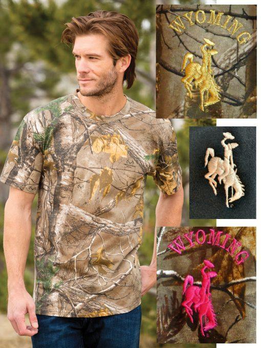 Np0021r T Shirt Realtreextracamo Wyoming bucking horse design