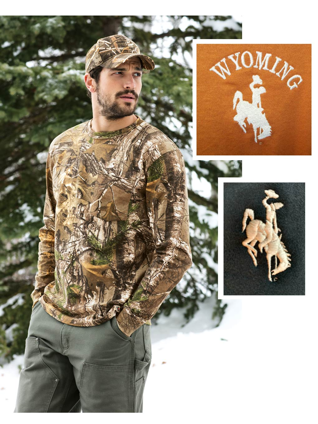 Custom Wyoming long sleeve camo t-shirt