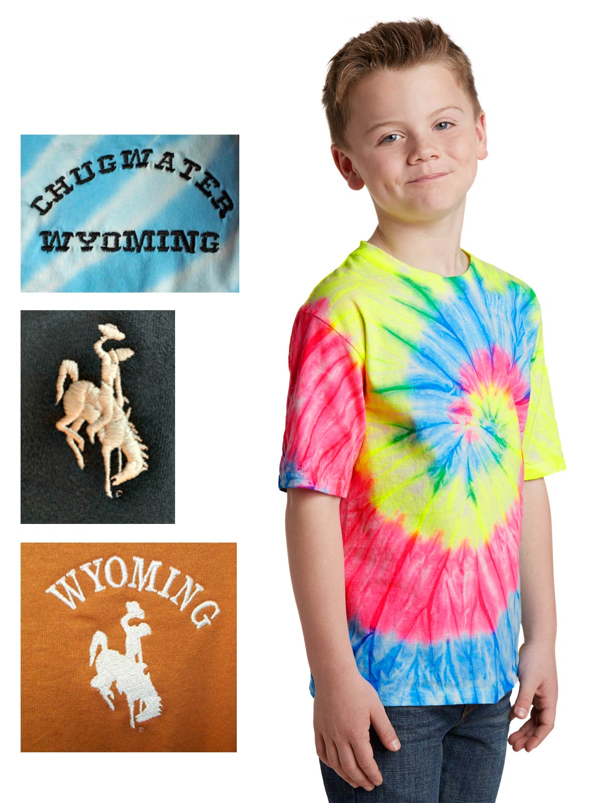 youth custom tie-dye short sleeve cotton t-shirt